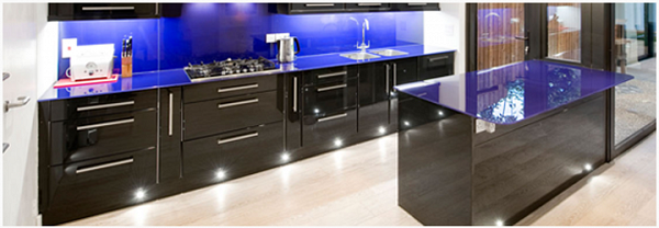 Glass used in kitchen for worktops and splash backs