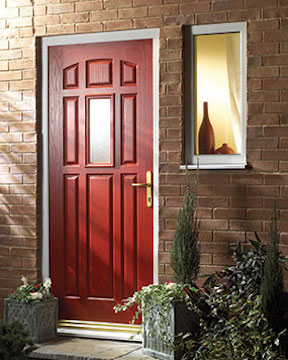 Red panelled door